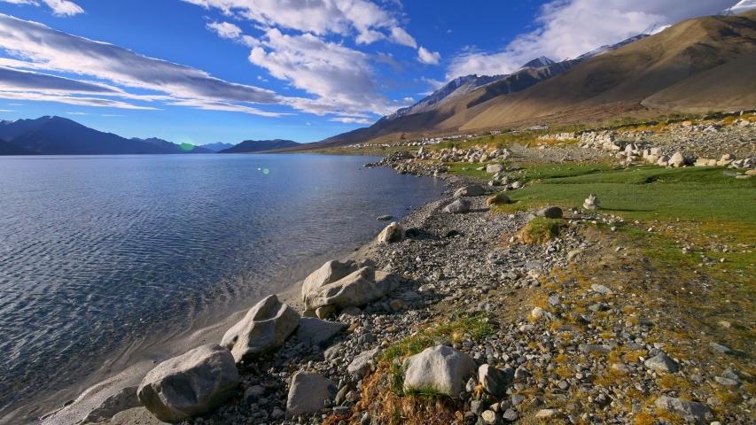 Pangong tso Lake, Ladakh, Jammu and Kashmir, India  | Shutterstock HD Video #1039455014