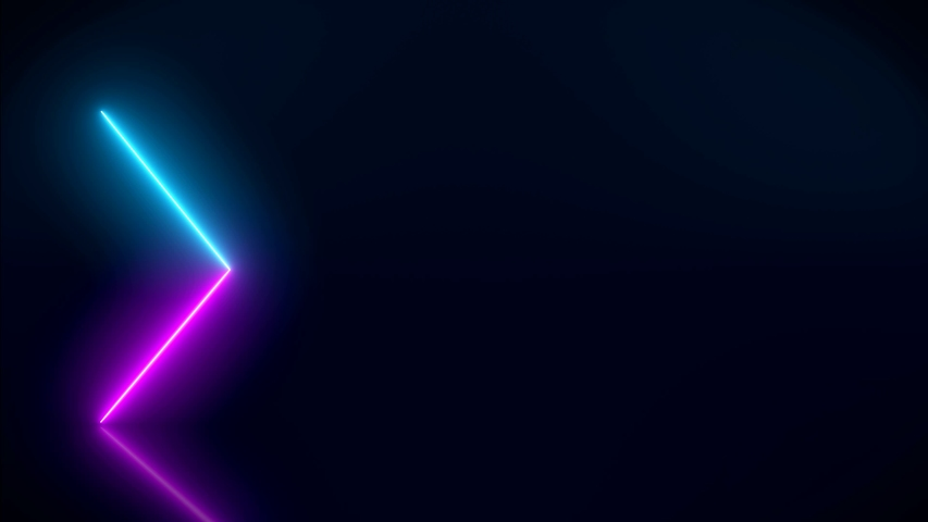 Video animation of glowing neon arrows in blue and magenta on reflecting floor. - Abstract background - laser show #1039458764