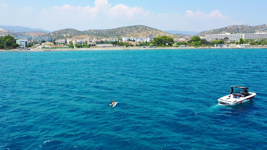 Sunny Limassol coast wake boarding, Cyprus | Shutterstock HD Video #1039890314
