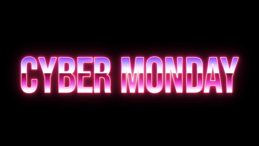 A laser sculpting the words Cyber Monday with a neon lighting, filled with two chrome gradients, with raysing on the background. 1980s retro vintage vibe. | Shutterstock HD Video #1040271704