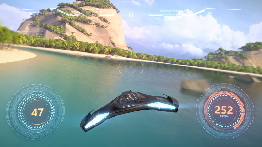 3d fake Video Game. Flying racing gameplay | Shutterstock HD Video #1040295884
