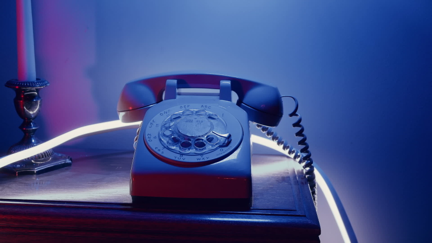 Retro 80s phone concept, answering phone | Shutterstock HD Video #1040301224