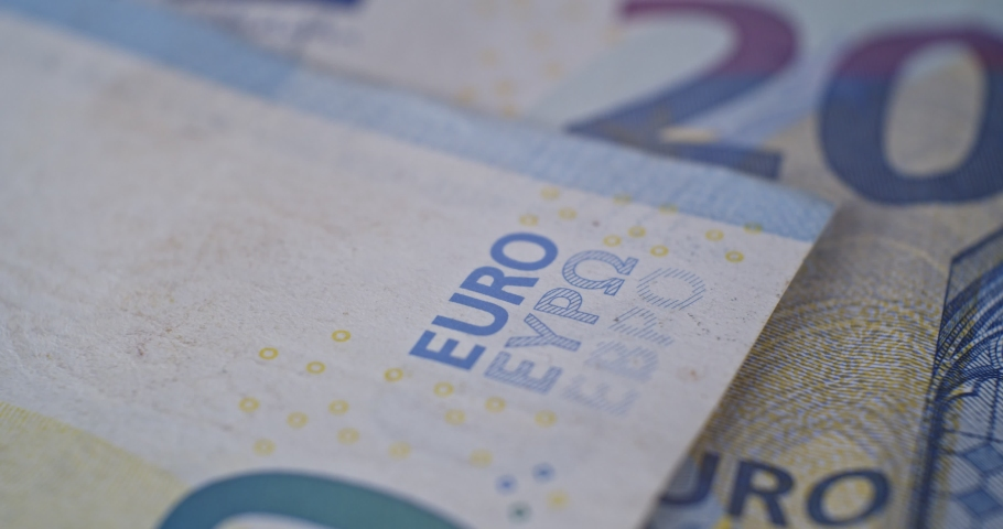 20 euro banknote details close-up EUR currency | Shutterstock HD Video #1040328524