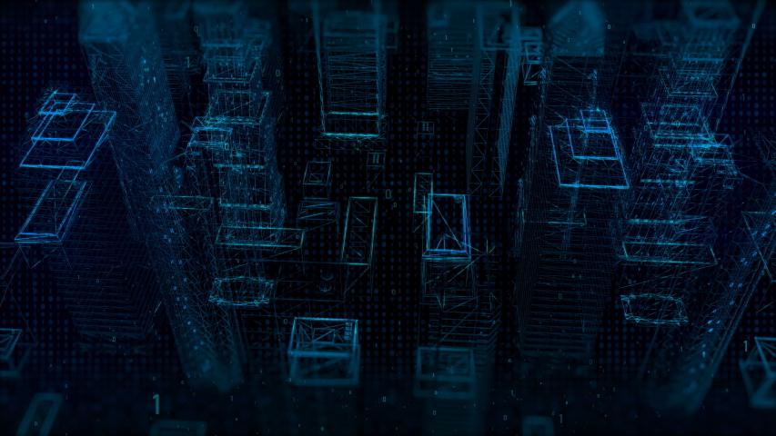 Cyber digital city on background | Shutterstock HD Video #1040622224