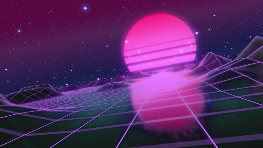 Retro futuristic flight in space with a polygonal mesh on the generated hills and floor. Concept 80s 90s. Fantastic abstract neon background. Camera tilted, Dutch corner. Seamless loop 3d render | Shutterstock HD Video #1040800544