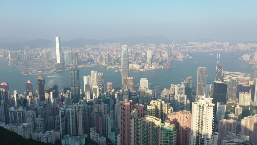 09 Oct 2019, View from Victoria Peak, a mountain in the western half of Hong Kong Island   Shutterstock HD Video #1040821214