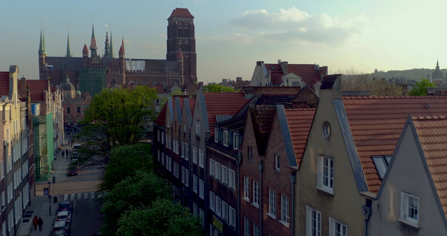 Drone footage of the St. Mary's Basilica in Gdansk. | Shutterstock HD Video #1040909774