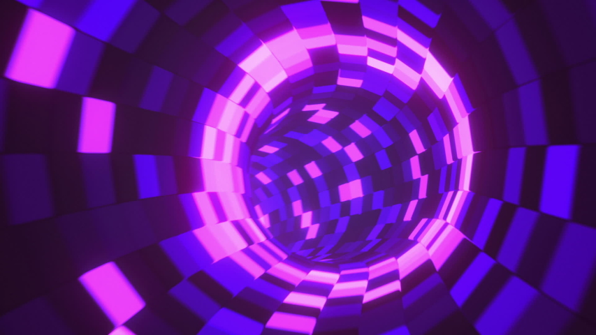 Moving forward through the abstract endless tunnel with bright flashing led light boxes, 3d render, looped animation, fluorescent ultraviolet light, glowing spheres, modern colorful illumination | Shutterstock HD Video #1040966114