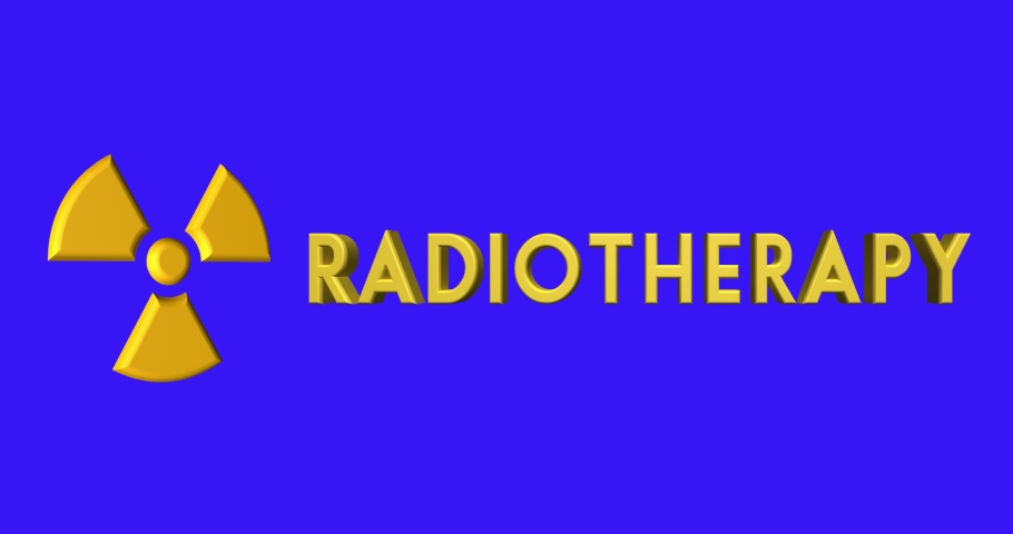 Ionizing radiation symbol and Radiotherapy word. 3d rendering. | Shutterstock HD Video #1040996354