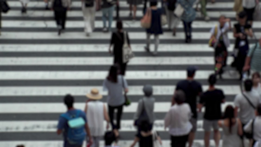 UMEDA, OSAKA, JAPAN - CIRCA SEPTEMBER 2019 : Aerial blurred high angle view of zebra crossing near Osaka train station. Crowd of people at the street. Shot in busy rush hour. Wide slow motion. | Shutterstock HD Video #1041098764