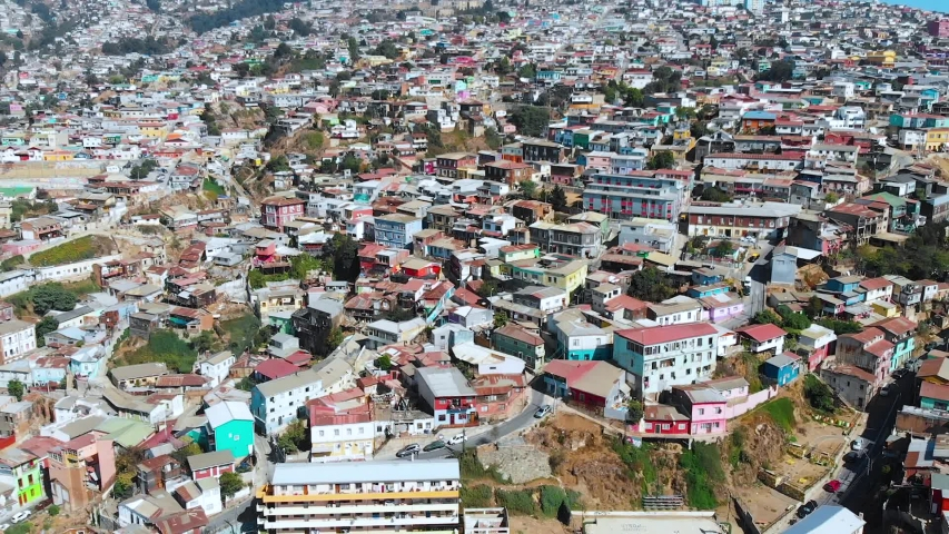 City on the hills, Colorful Houses, cottages (Valparaiso, Chile) aerial view | Shutterstock HD Video #1041121324