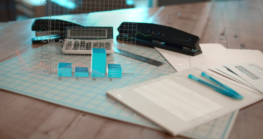3D bar graph and financial business charts on a wood desk in a modern office. Diagrams and stock market numbers showing profit and gain.  | Shutterstock HD Video #1041408484