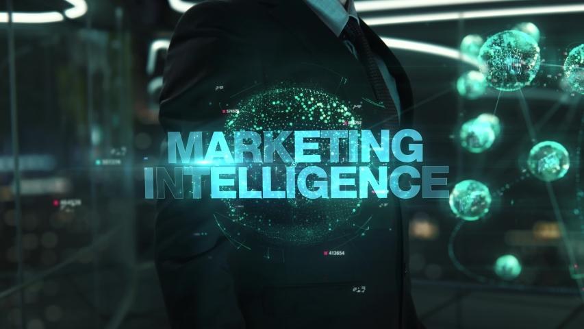 Businessman with Marketing Intelligence hologram concept   Shutterstock HD Video #1041460984