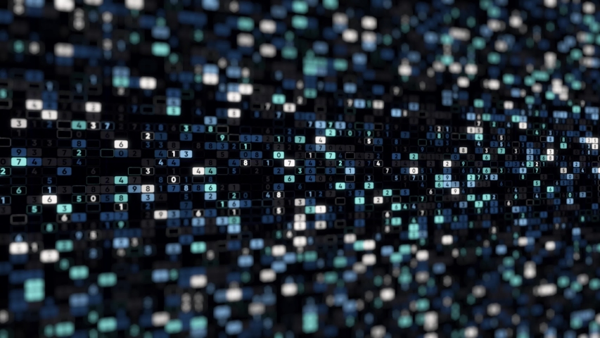 Abstract display with endless rows of cells with numbers that changing constantly on black background. Animation. Digital screen with important numerical information. | Shutterstock HD Video #1041625534