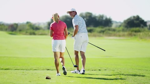 Healthy Outdoor Fitness Exercise Caucasian Couple Golf Player Outdoors Activity