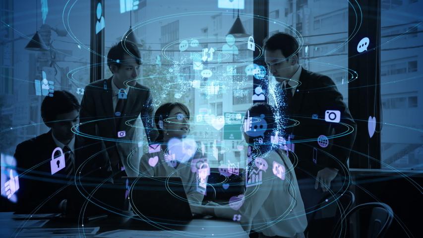 Social networking service concept. communication network. | Shutterstock HD Video #1041753094