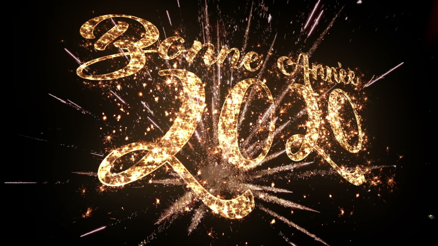 2020 Happy New Year Greeting Text in French with Golden  Sparkler particles Sparks and Fireworks isolated on black, slow motion fireworks in night sky sparkling light shine New Year Creative Design  | Shutterstock HD Video #1041877864