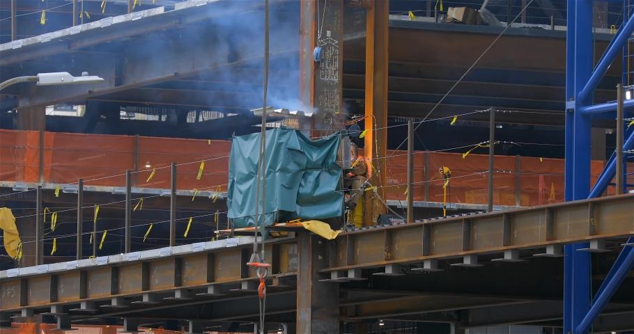 NEW YORK CITY / USA – OCTOBER 09, 2019:  Hudson Yards, Building Construction, New York City | Shutterstock HD Video #1042060324