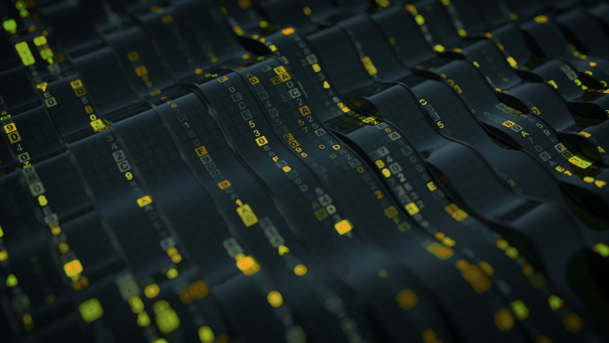 Yellow HEX computer code on curved screen. Futuristic information technology concept. Seamless loop 3D render animation with DOF | Shutterstock HD Video #1042236904