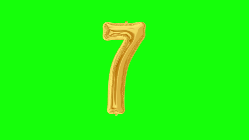 Gold foil number 7 seven on green screen for anniversary celebration, festival, decorations and happy birthday. 4K video. | Shutterstock HD Video #1042254724