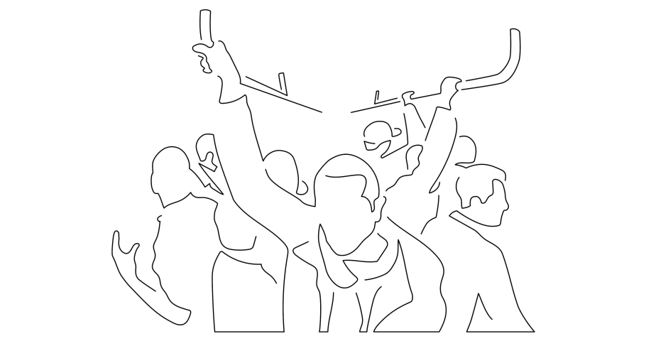 People on the subway isolated line drawing, vector illustration design. | Shutterstock HD Video #1042289224