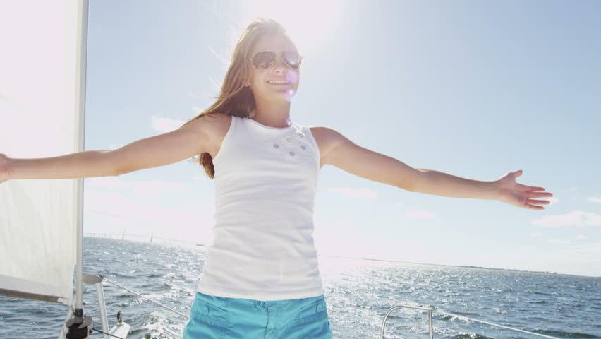 Caucasian Female Child Portrait Luxury Sailing Yacht Vacation Sunshine Outdoors | Shutterstock HD Video #10423004