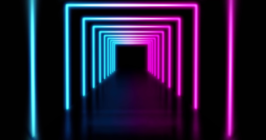 Neon lines abstract tunnel or glowing path a matrix of light. Colourful beams of light in a pattern - 4K loop | Shutterstock HD Video #1042324504