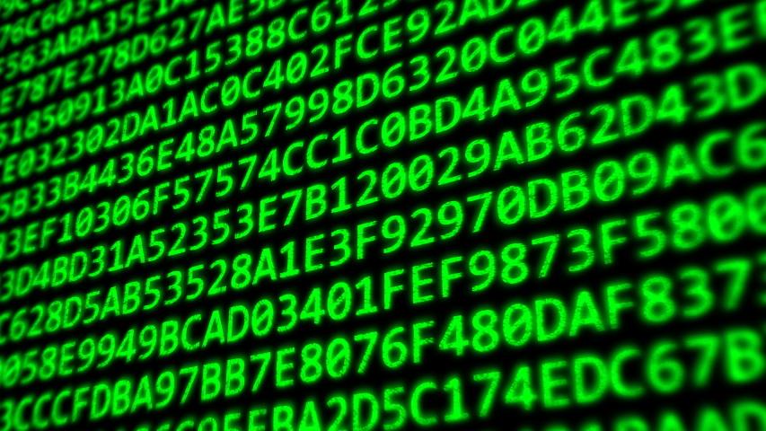 Hexadecimal Code Program Digits on Dark Computer Monitor Screen - 4K Loop Motion Background Animation | Shutterstock HD Video #1042398664