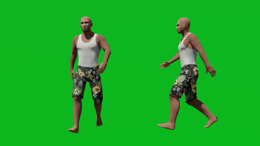Casual man walking in front view and side view, realistic 3D people rendering isolated on green screen. | Shutterstock HD Video #1042602934
