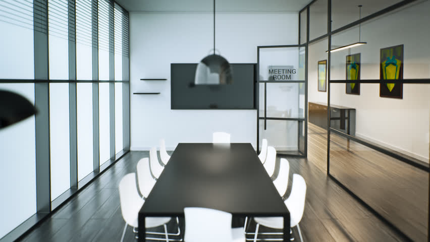 02311 Modern Glass Conference Room With Meeting Room Sign On Glass Wall.    HD Stock