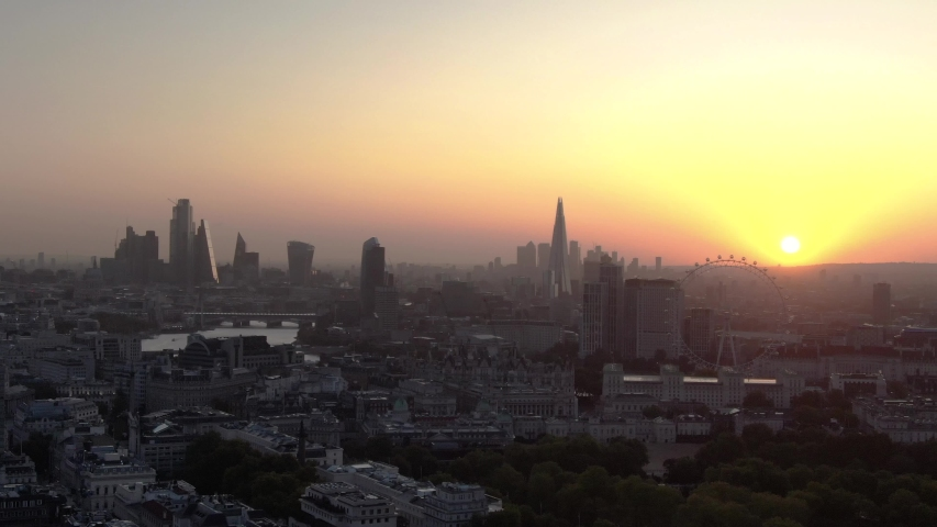 Aerial Droner Panoramic View Of London City Skyline And Thames River At Sunrise    Shutterstock HD Video #1042713784