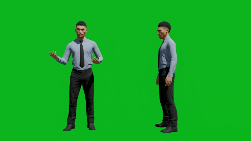 Asian office man standing in front view and side view, realistic 3D people rendering isolated on green screen. | Shutterstock HD Video #1042740574