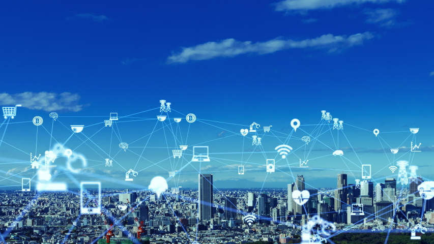 IoT (Internet of Things) concept. Communication network.   Shutterstock HD Video #1042773244