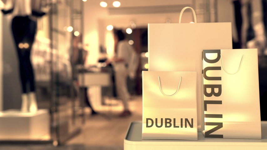 Shopping bags with Dublin text. Shopping in Ireland related 3D animation | Shutterstock HD Video #1042782424
