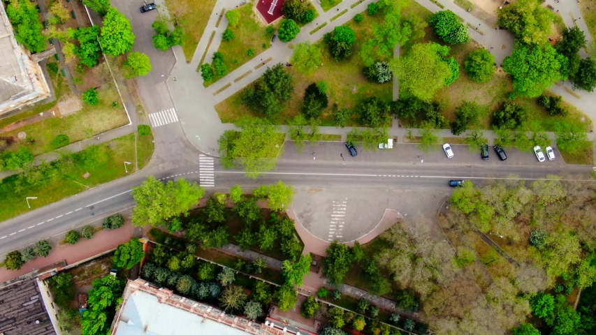 Unique landscape design of the park in mulet / pentagram type in city Mykolaiv / Ukraine. Some roads and parked cars around. Aerial view. | Shutterstock HD Video #1042789474