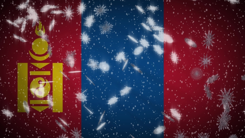 Mongolia flag falling snow loopable, New Year and Christmas background, loop | Shutterstock HD Video #1042792774
