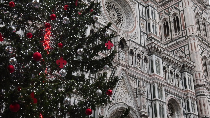 Christmas Tree in Florence with beautiful Facade of Cathedral Santa Maria del Fiore on background. Italy. 4K UHD Video, zoom camera movement. | Shutterstock HD Video #1043127784