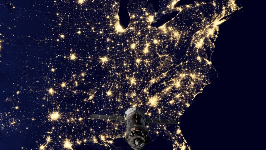 Zoom To United States Of America The Night View Of City Lights - World satellite night view
