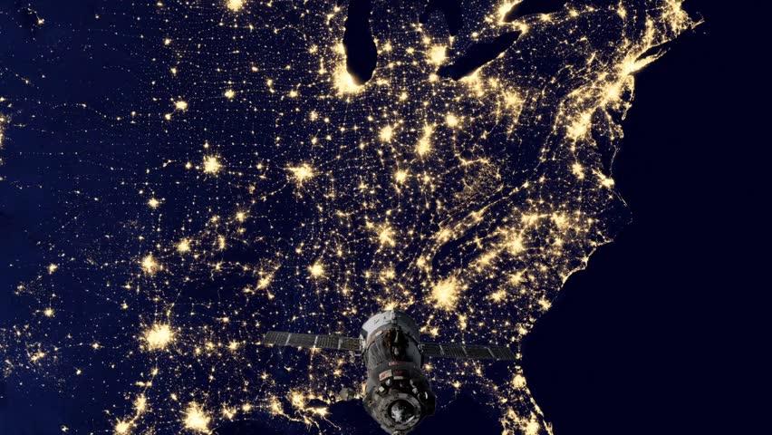 Space Satellite Over Night Sky Of USA Stock Footage Video - Satellite footage