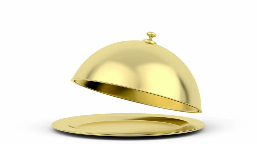 Animation of opening golden restaurant cloche
