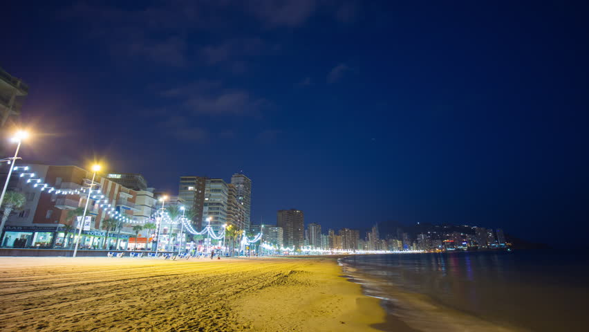 Benidorm Night Light Beach Panorama