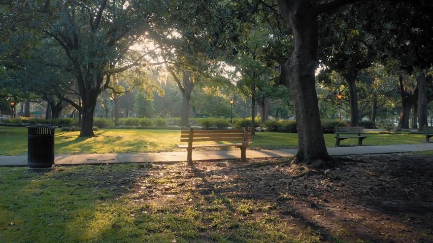 Aerial: Park bench and ray of light. Forsyth Park. Savannah, Georgia, USA.  | Shutterstock HD Video #1044310654