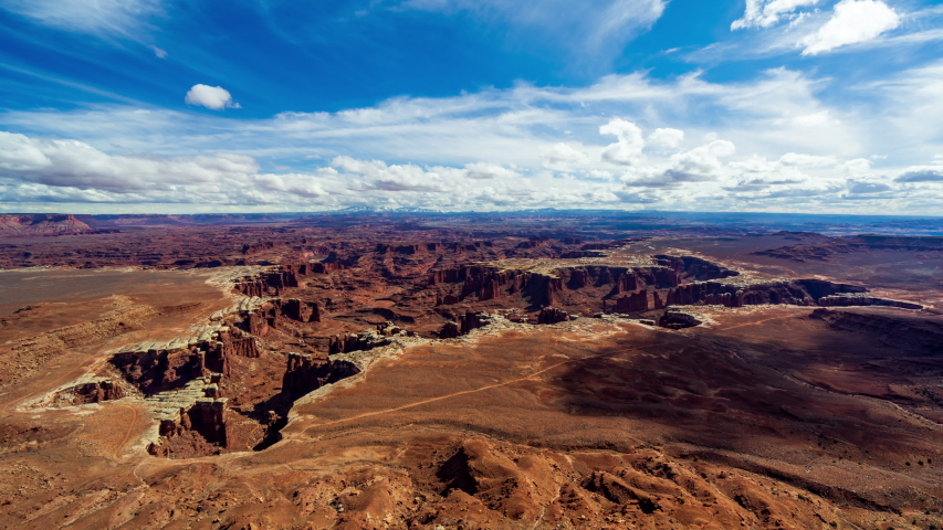 4K Time lapse Aerial view of White Rim Overlook, Canyonlands National Park, Moab, Utah, USA | Shutterstock HD Video #1044310864