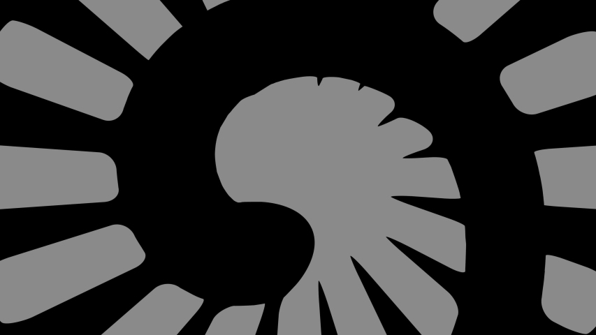 Graphic object in the shape of a spiral, in black and white with stroboscopic and hypnotic effect, which rotates clockwise, decreasing the size from the full screen to the disappearance in the center. | Shutterstock HD Video #1044654184