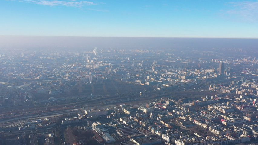 Aerial pollution smog over Paris Saint-Denis area France greenhouse gas industry | Shutterstock HD Video #1044661654