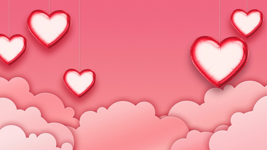 Valentine's Day or wedding animated background.  Heart shaped balloons on pink sky with paper cut clouds. Object masks included. | Shutterstock HD Video #1044784744