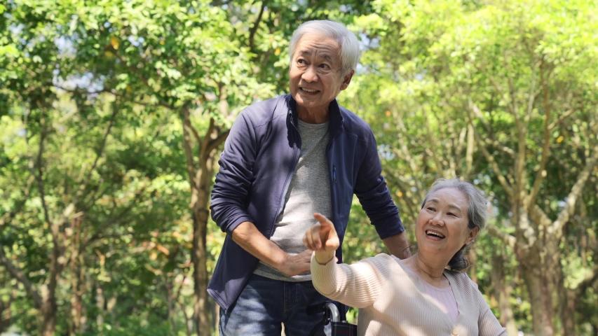 Senior asian couple relaxing outdoors in park   Shutterstock HD Video #1044871684