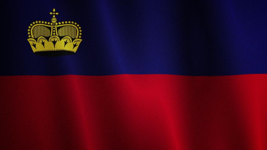 A waving Flag of Liechtenstein. Animated country symbol of flowing ensign textile texture.   Shutterstock HD Video #1045003864