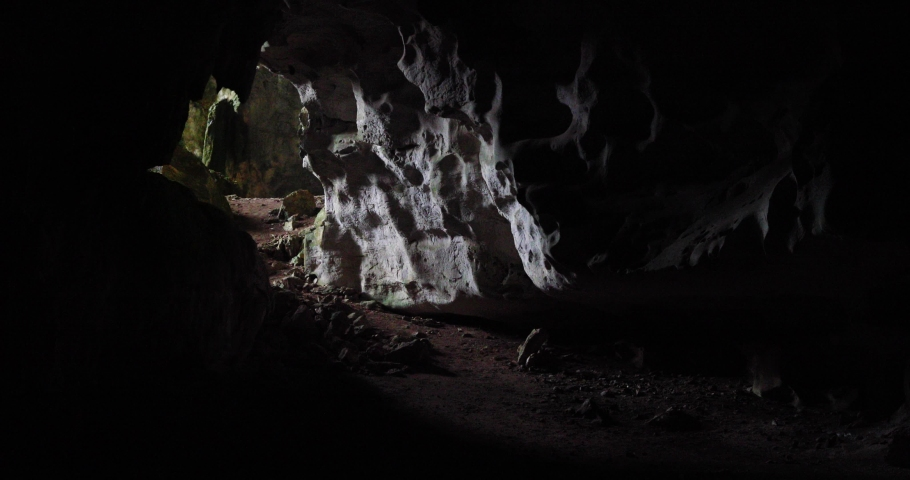 Dark and mysterious cave tunnel in Central America | Shutterstock HD Video #1045096234