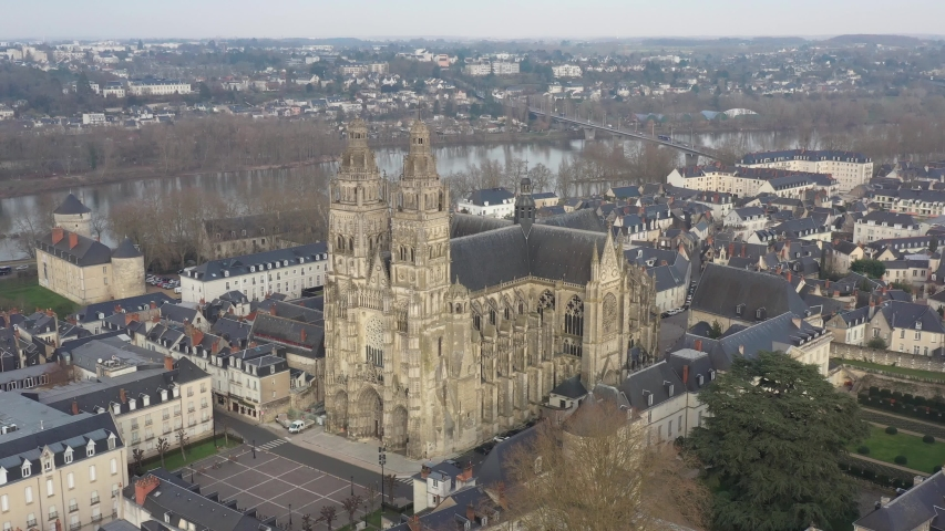 France, Tours city, drone aerial view revolving around Saint-Gatien cathedral. | Shutterstock HD Video #1045192684